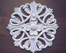 Large White Round Shabby Chic Furniture Flower Resin Applique Onlay Moulding