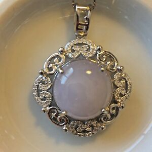 Genuine Large Lavender 11.7ct Jadeite Jade(Type A) 925 Silver Pendant with Chain