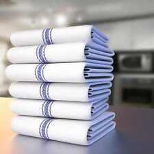 24 Toallas de plato de cocina con Rayas Azul, Súper Absorbente 100% Algodón Natural Nuevo