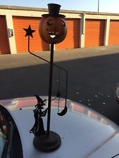 Metal Halloween Pumpkin Standing Porch Candle Holder Witch, Top Hat, Spider