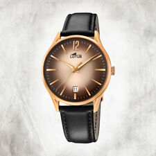 Lotus Revival 39mm Watch Leather Strap Calendar Pink Gold Plated 18404/2