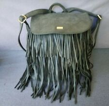 Expressions NYC Grey Fringed Faux Leather Flap Backpack Purse Large W Drawstring