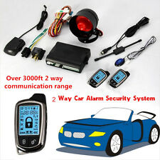 2X 2 Way Car Alarm Security System LCD Super Long Distance Controlers Anti-theft