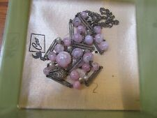 Victorian Hand Blown Pink Glass Pearl Necklace ~ Antique
