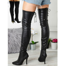 Womens Thigh High Ladies Over The Knee Stiletto Heel Stretchy Boots Shoes Sizes