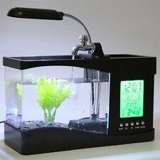 USB Desktop Mini Fish Tank Aquarium LCD Timer Clock LED Lamp Light Black E0
