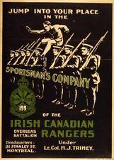 SPORTSMAN BATTALION IRISH CANADIAN RANGERS Irish WW1 Propaganda Poster