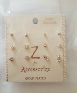Accessorize Stud Rose Gold Earrings 6 pairs