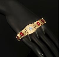 18 karat Armkette Armreif 21cm Armband Herren Männer vergoldet Gold Panzer GH13