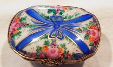 Stunning vintage Limoges Trinket Pill box blue and pink color Perfect Condition