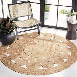 Rug 100% Natural Jute Modern living area carpet rug handmade reversible rag rug