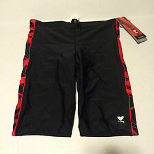 TYR Mens Jammer Swim Suit Size 36 Black Splice Red Swirl New Competition Lycra