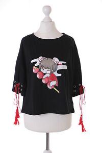 TP-194-1 Schwarz Manga Girl Japan Dango Spieß Grafik T-Shirt Harajuku Kawaii