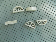Lego White Window 1 x 4 x 1 2/3 with Spoked Rounded Top lot of 5
