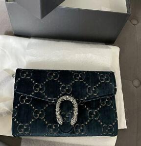 NWT Gucci Dionysus GG Monogram Velvet Blue Black Bag chain Strap Crossbody