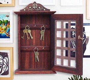 Valentine Day Special Present, Wooden Key Box Chex Inlay Work Key Holder, Key