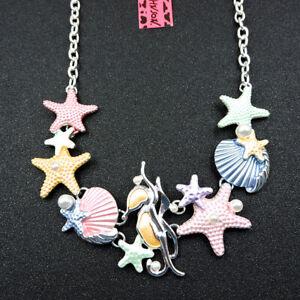 Betsey Johnson Fashion Jewelry Pretty Colorful Starfish Shell Choker Necklace