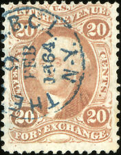 i821 U.S. Revenue Scott R41c 20c Foreign Exchange. Bold handstamp cancel SCV=$80
