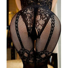 Sexy Women Black Stockings Crotchless Fishnet Sheer Body Dress Lingerie Costume