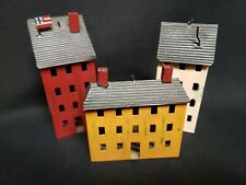 Rustic Tin Saltbox House lot of 3 Primitive Country Decor fairy garden