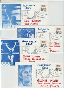 Stamps USA 1984 Olympic games group 4 Australian gold medallists souvenir covers
