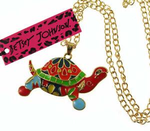 New Betsey Johnson multicolor Tortoise Sea Turtle Pendant Necklace Sweater Chain