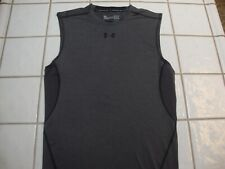 Under Armour HeatGear Compression Sleeveless Shirt Gray Tank Top Mens Large