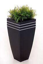 """Einzel Zink Blumenkübel """"New Glamour"""" 65cm Anthrazit inkl. Bewässerungssystem"""