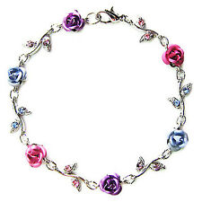 w Swarovski Crystal ~Pink Purple Blue ROSE FLOWER Floral Bridal Wedding Bracelet