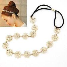 Punk New Ladies Hair Jewelry Gold Metal Chain Rose Flower Hair Headband
