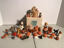 "Cherished Teddies ""Falling For You� W/ Halloween Minitures Lot"