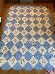 """VINTAGE STATE Embroidered FLOWERS Hand Quilted QUILT 48 STATE 74"""" X 117"""""""
