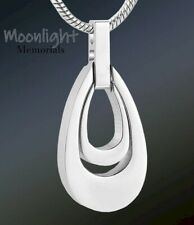 New Teardrop Double Urn Cremation Pendant Ash Silver Memorial Necklace