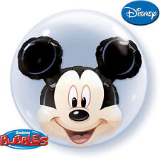 "24"" Sphere MICKEY MOUSE Double Bubble Stretchy Plastic BALLOON Birthday Party"