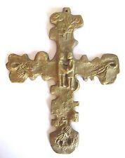 RAR Selten Älteres massives Kreuz aus Messing Bronze Christentum mit Vater Unser