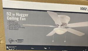 Hugger 52 in. LED Indoor White Ceiling Fan