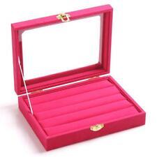 Velvet Jewelry Wood Ring Display Organizer Box Tray Holder Earring Storage GA