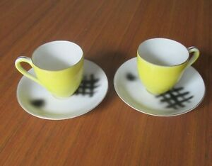 2 Mid Century Modern Demitasse Cup Saucer 'Superior Quality' Made in Japan