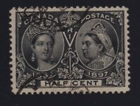 Canada Sc #50 (1897) 1/2c black Diamond Jubilee VF Used CDS
