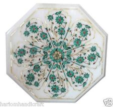 """12""""x12"""" Marble Coffee Side Table Top Malachite Inlay Floral Art Home Decor H1840"""