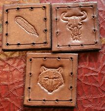 "Leather patch lot - pack of 3 - 1.75"" x 1.75"" - Feather, Wolf, Buffalo skull"