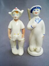 VINTAGE RUSSIAN/USSR YOUNG SOLDIERS WITH BINOCULARS & RIFLE PORCELAIN FIGURES