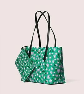 🌸 NWT Kate Spade Molly Party Floral Smal Leather Tote w/ Pouch Green NEW $198