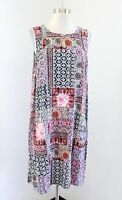 J Jill Geometric Patchwork Medallion Print Rayon Knit Shift Dress Size L Black