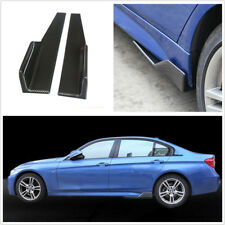 2 Pcs Black PP Carbon Fiber Color Car Side Skirt Spoiler Diffuser Winglet Wings