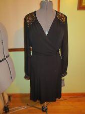 Women's Donna Ricco Black Long Semi Sheer Sleeves Dress W/Sequins Size 12 NWT