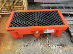 Two Drum Spill Containment Pallet by Ultra Tech Part #1010 66 Gal. Used Tl of 2