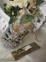 Rentier Elch Hirsch stehend Gold Christmas Weihnachten Shabby Vintage Deko
