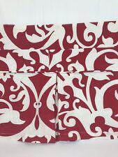 Pottery Barn Red White Floral bedskirt KING Linen Cotton Blend EUC