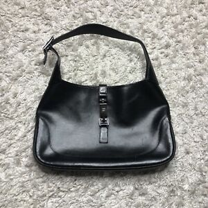 Gucci Womens Purse Black Hobo Shoulder Bag Leather Vintage 90s early 2000s